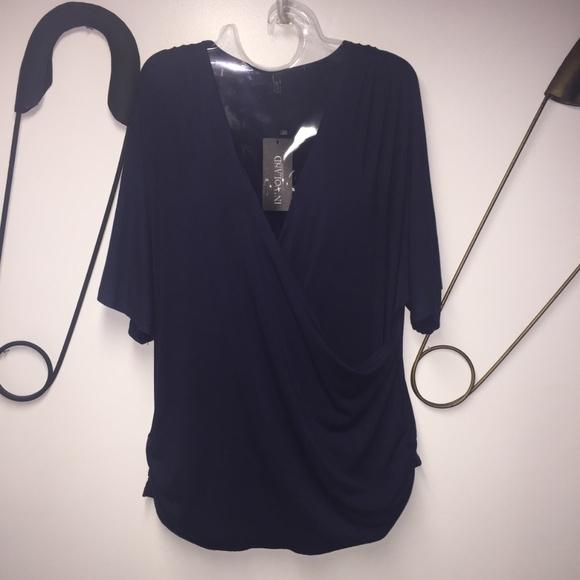 1601083b52faab IN VOLAND Plus Size Women V Neck Wrap Front Drape